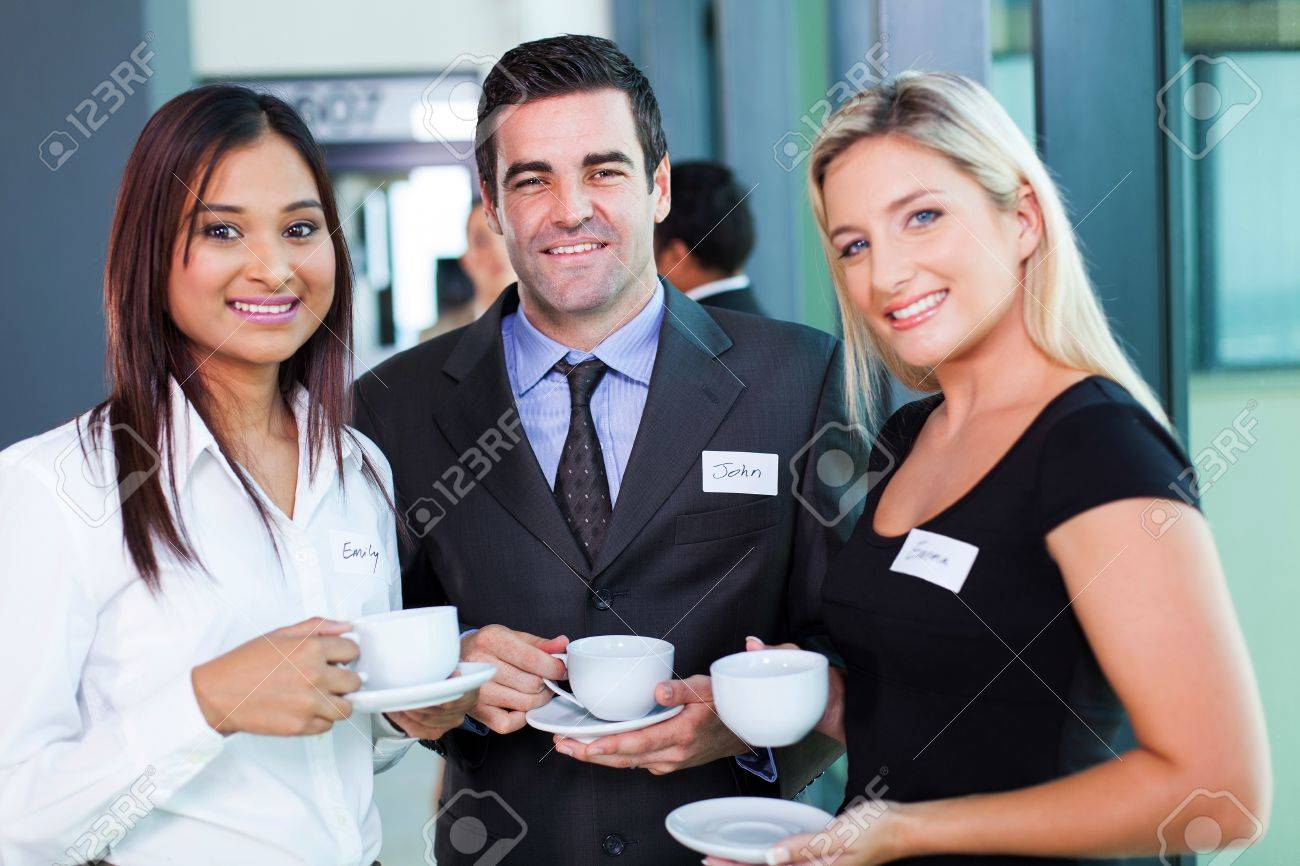 group of business people having coffee during business conference break Stock Photo - 20783211