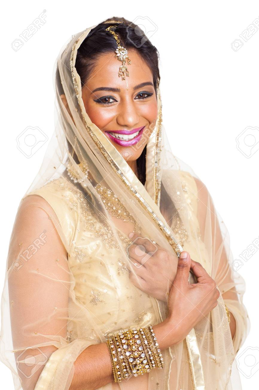 beautiful young indian woman in sari on white background Stock Photo - 21123005