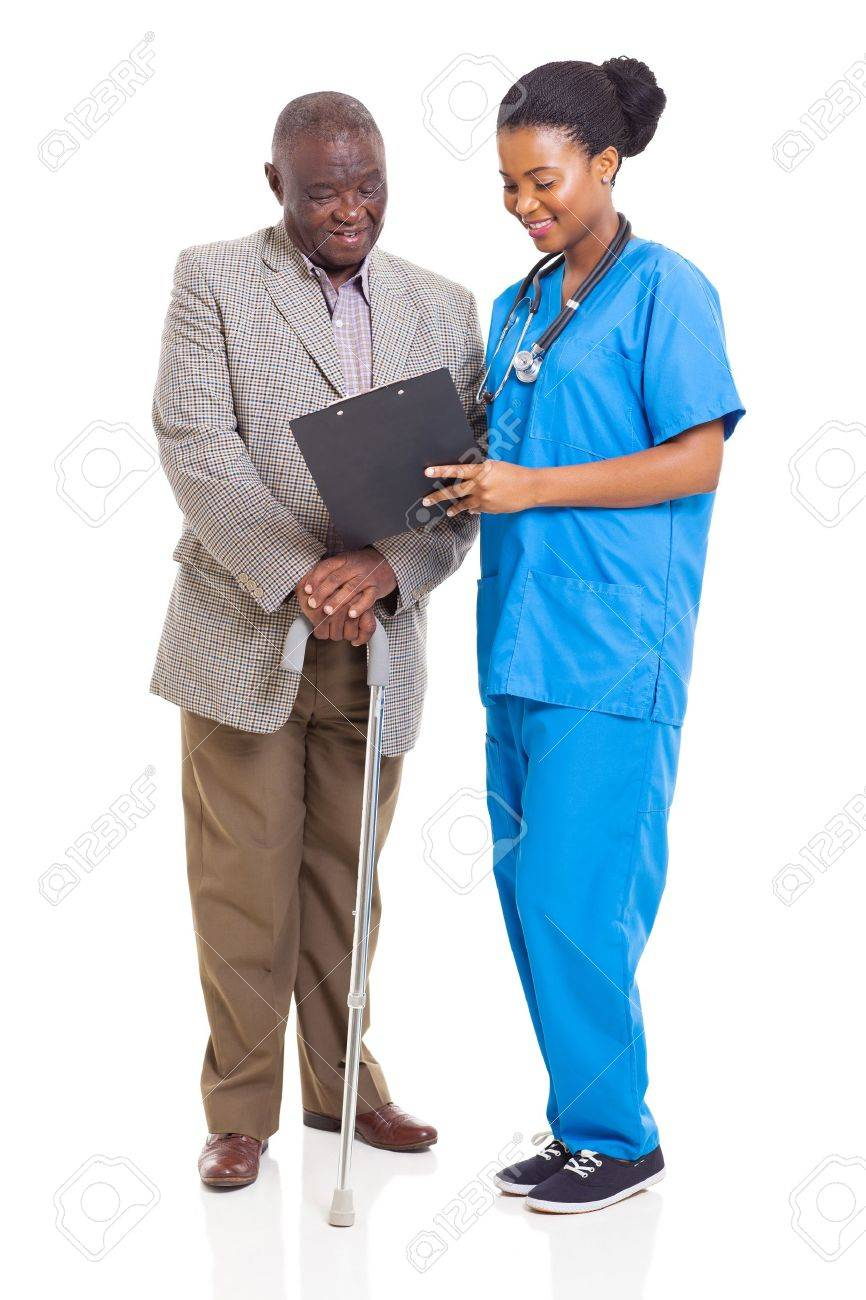 beautiful young african healthcare worker and senior patient isolated on white Stock Photo - 22098751