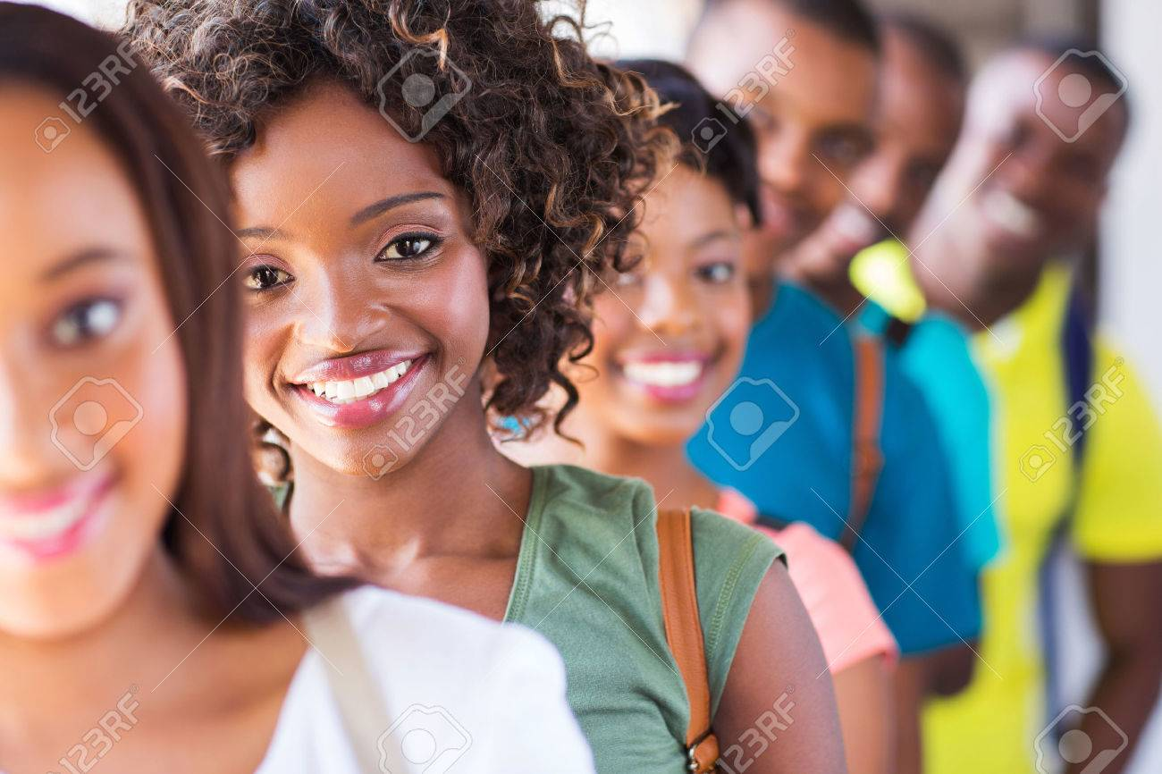 Group Of Attractive African American College Students On Campus