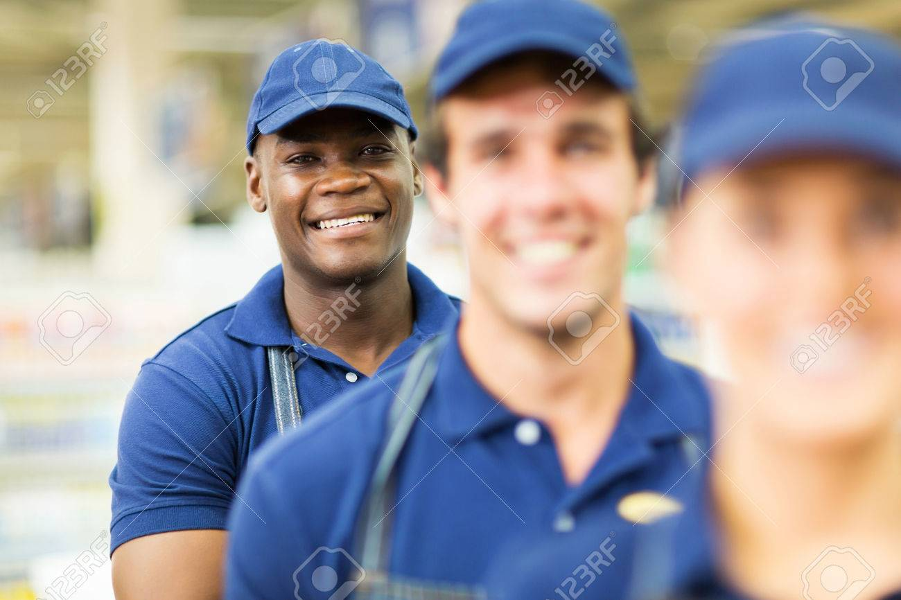 portrait of happy afro american hardware store worker stock photo portrait of happy afro american hardware store worker colleagues