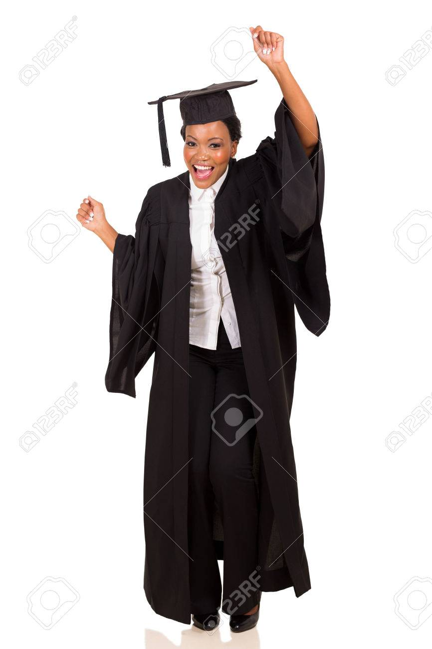 Happy African College Student In Graduation Gown Dancing Stock Photo ...