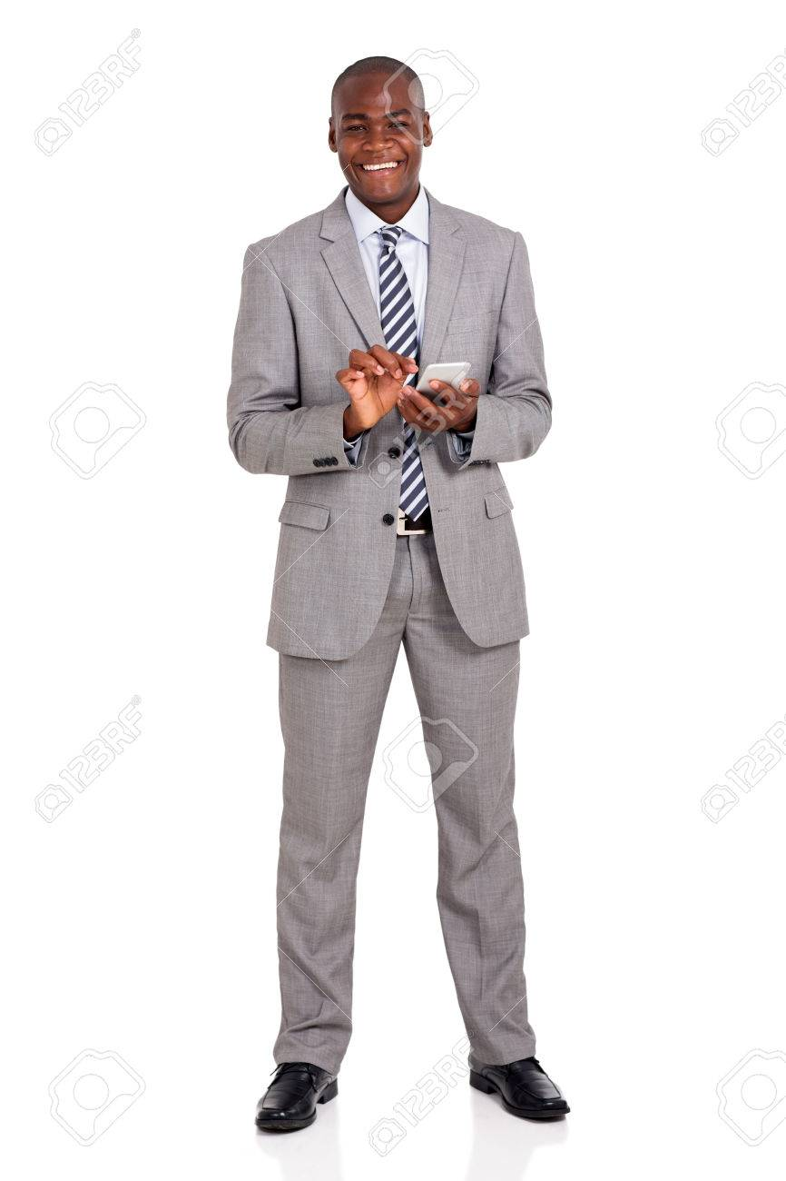 cheerful young african american businessman using cell phone - 45020585