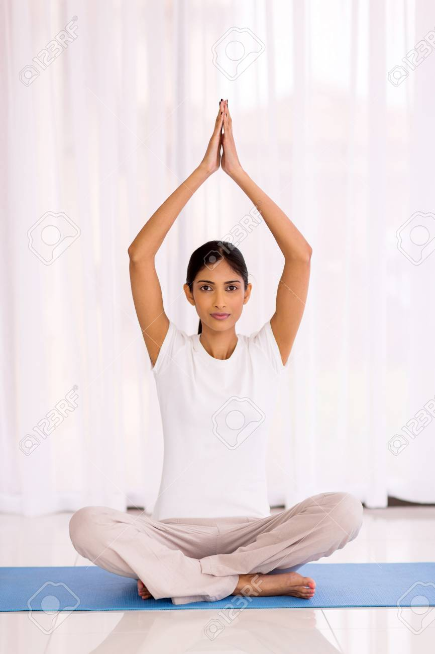 Peaceful Indian Woman Yoga Meditating At Home Stock Photo Picture And Royalty Free Image Image 47996133