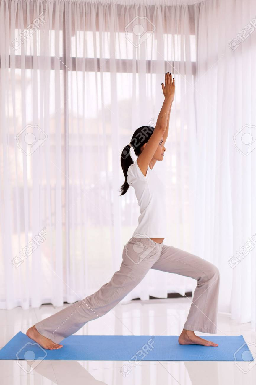 Side View Of Fit Indian Woman Doing Yoga Pose Indoors Stock Photo Picture And Royalty Free Image Image 47996809