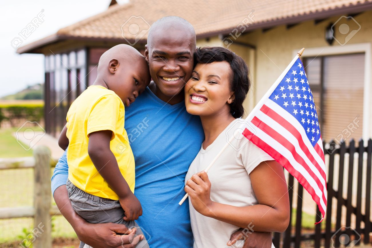 Beautiful african american family holding usa flag stock photo 48851641