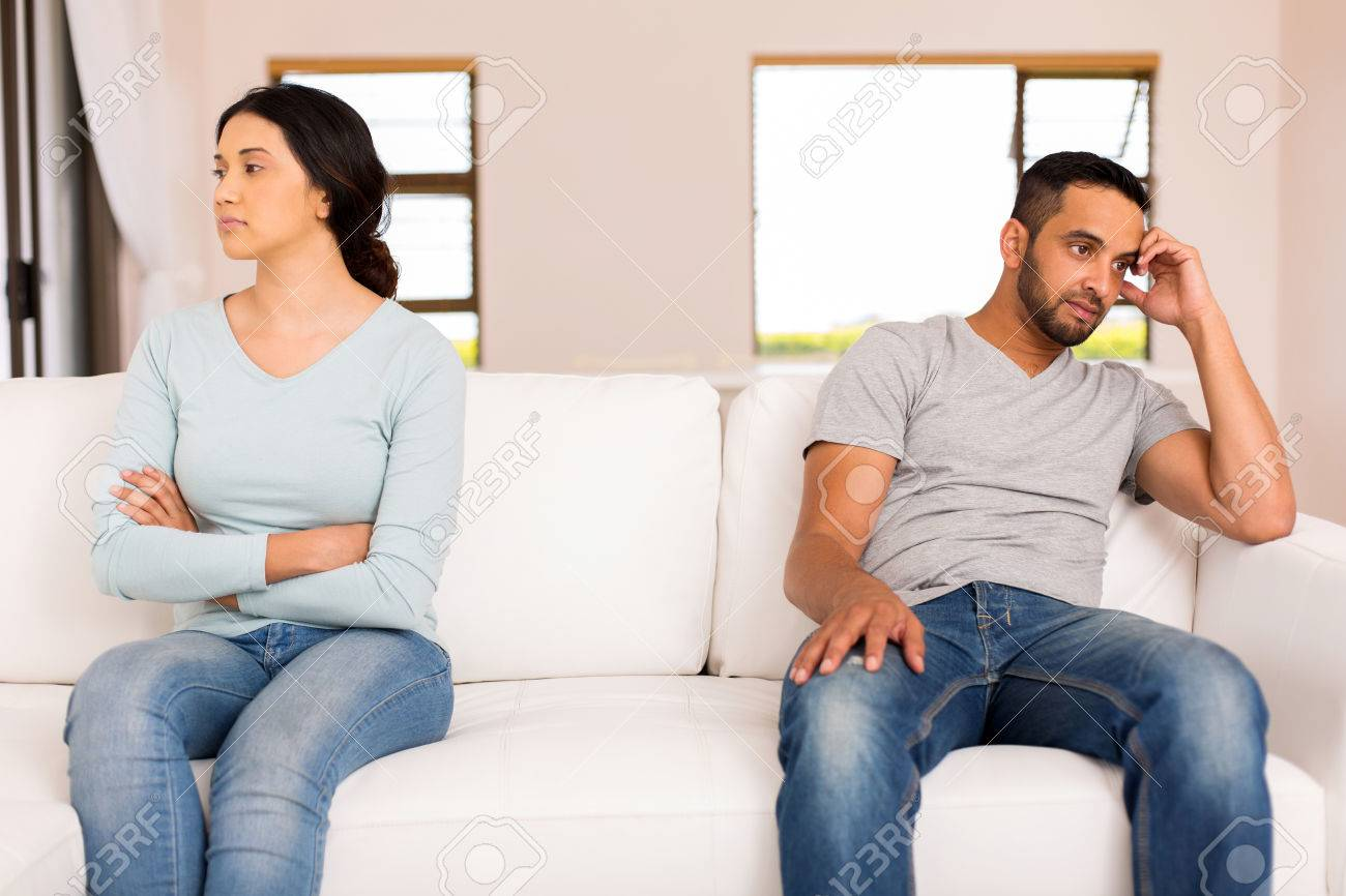 angry indian couple having conflict at home - 50436983