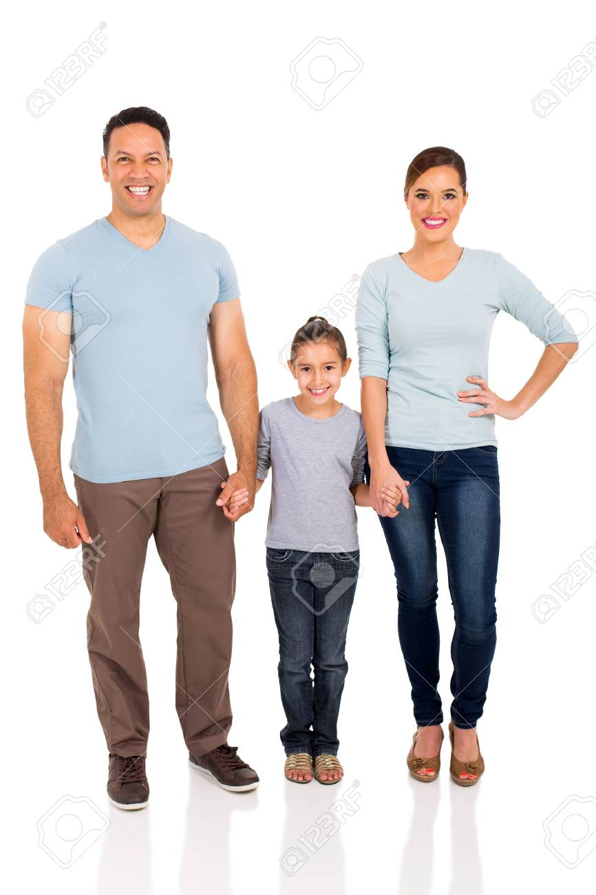happy family holding hands on white background - 50864638