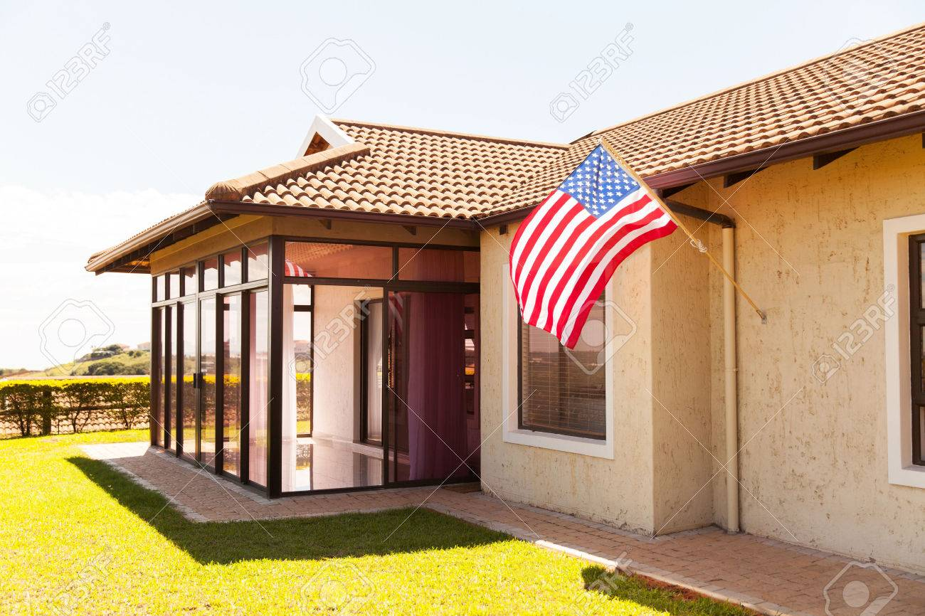 Beautiful House With American Flag Stock Photo Picture And Royalty