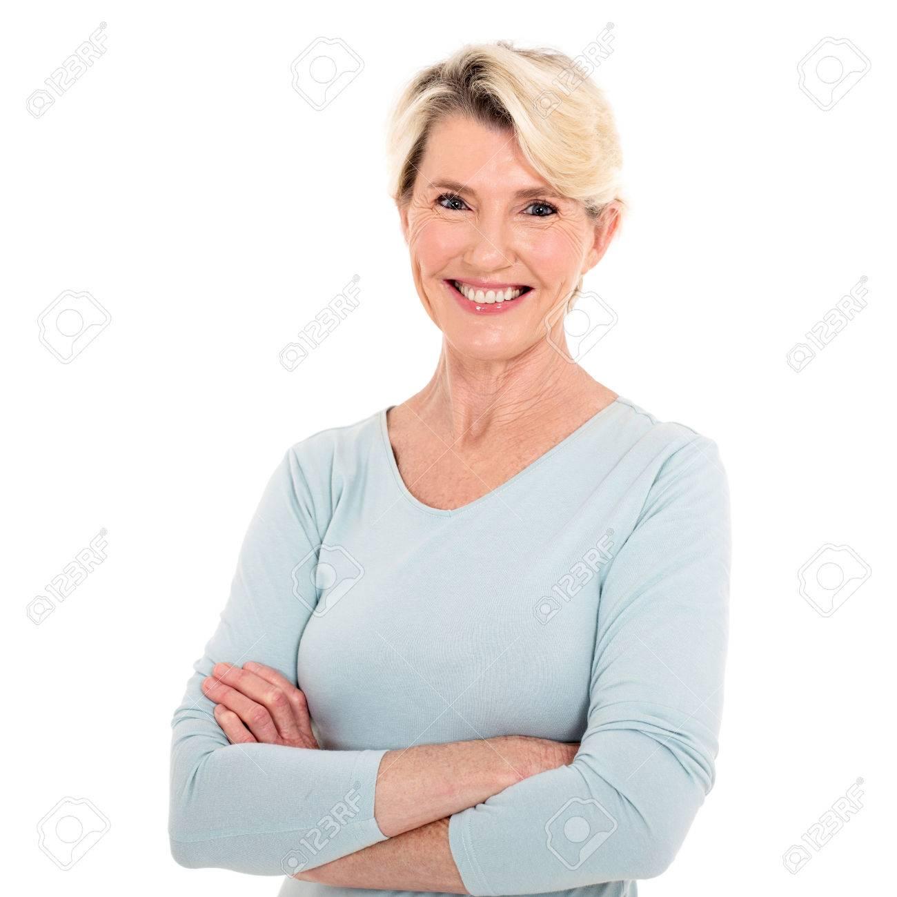 close up portrait of happy senior woman - 53029713