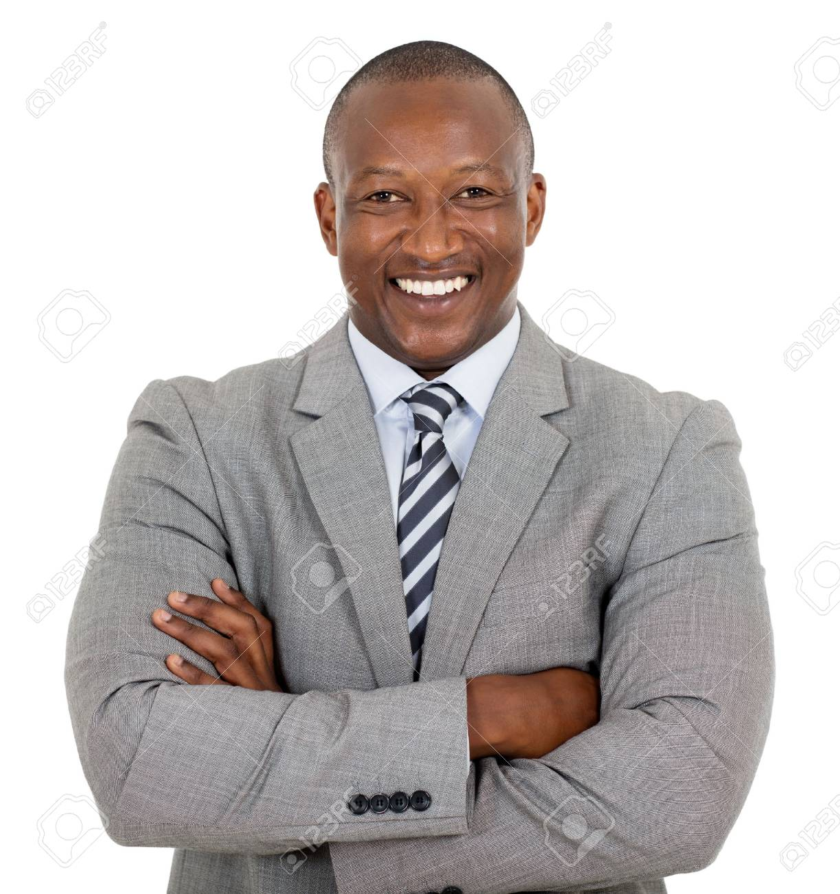 happy african businessman with arms crossed - 53100378