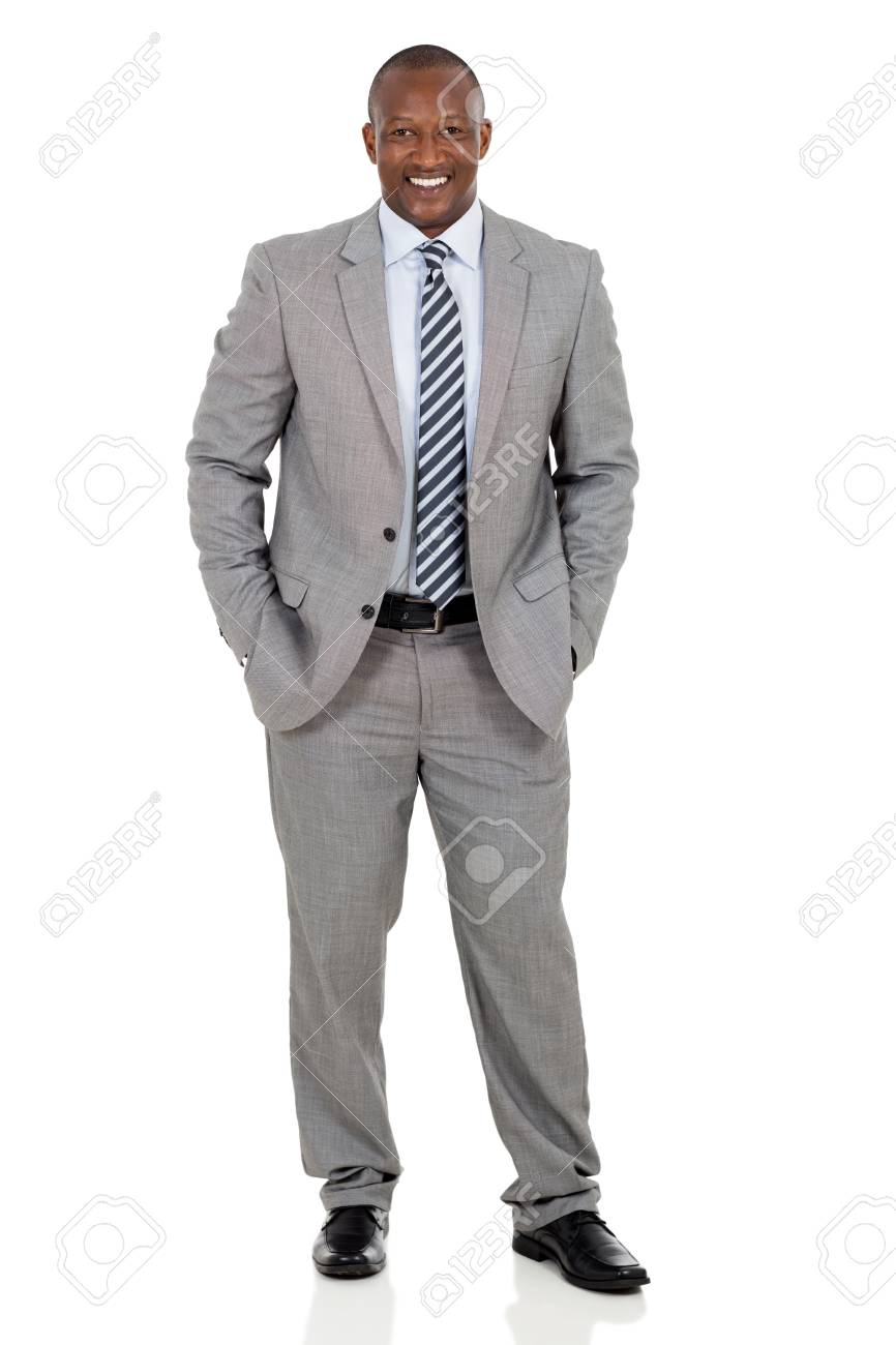 happy african american businessman standing on white background - 53100609