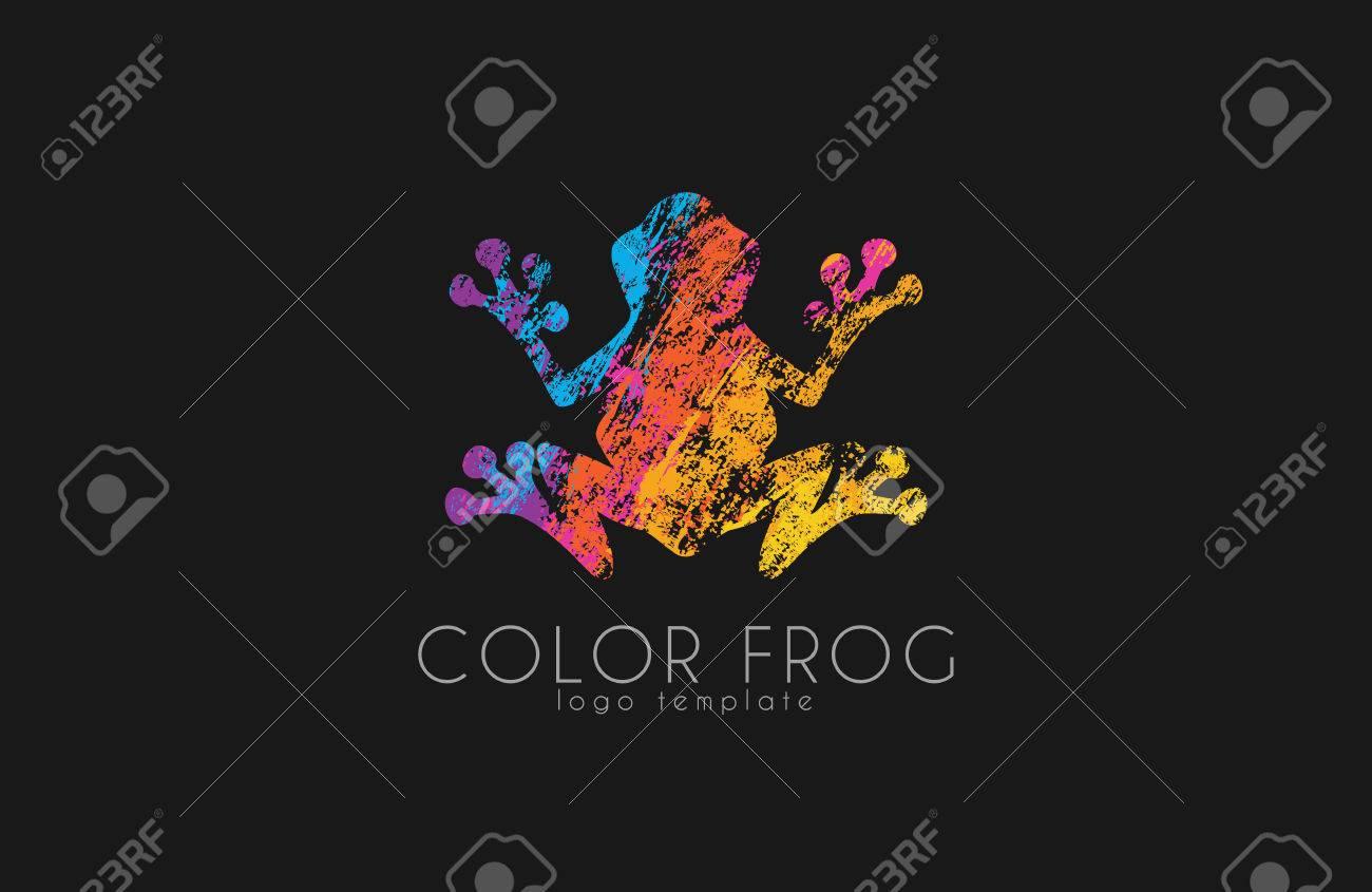 Frog logo. Color frog logo. Creative logo design. Animal logo. - 53653940