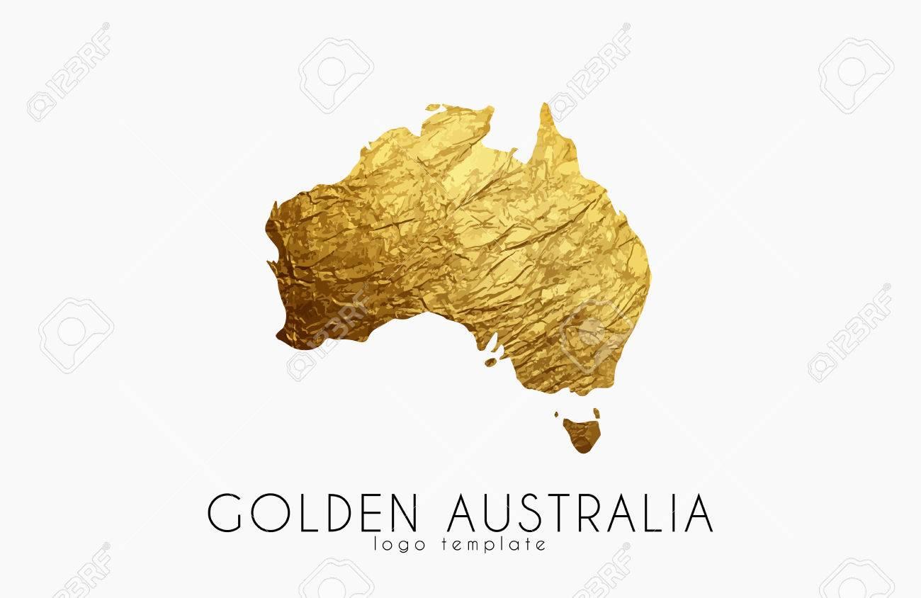 Map Of Australia Logo.Australia Map Golden Australia Logo Creative Australia Logo