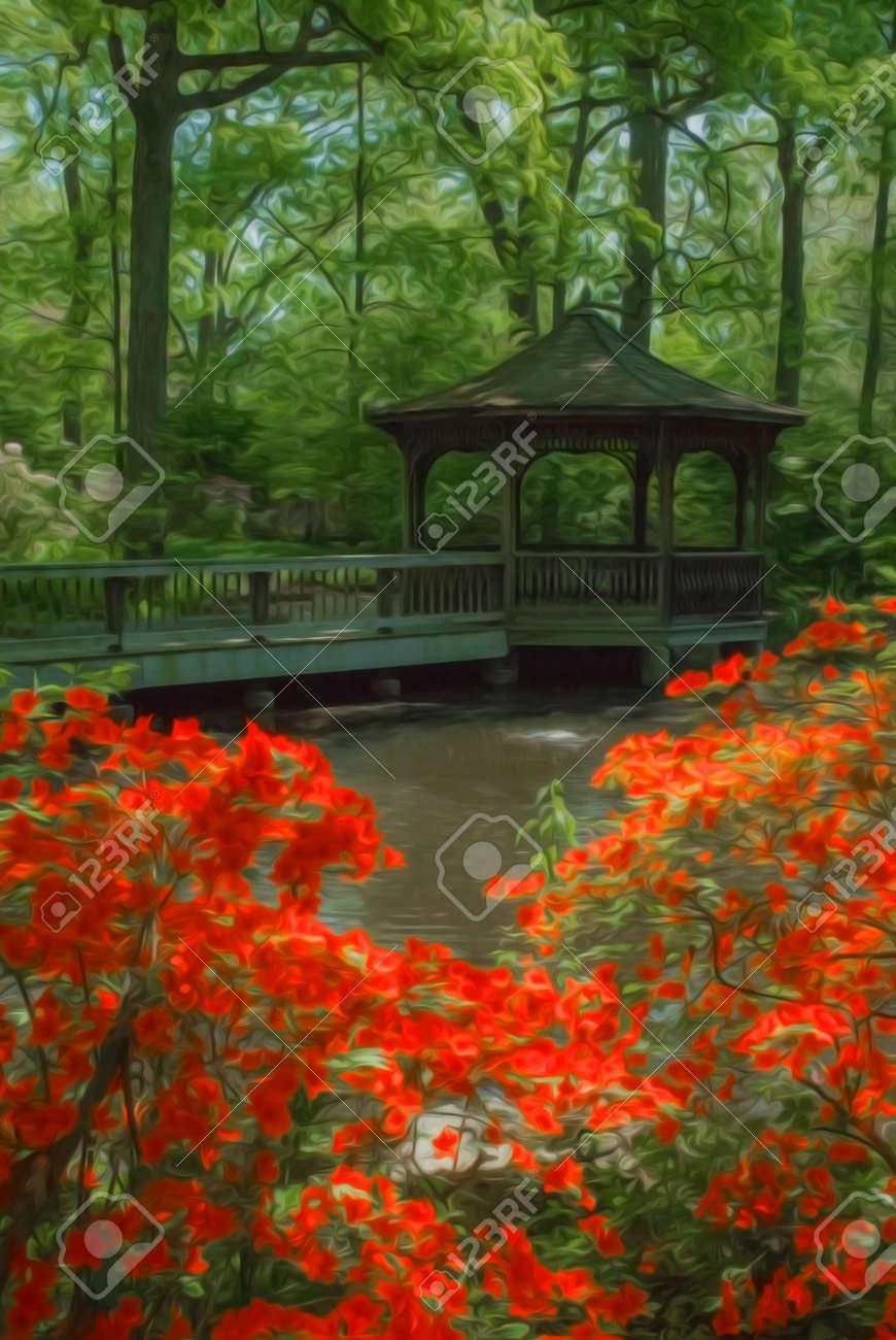 Beau Jardin D\'ombre Entretenu Avec Un Gazebo Entouré De Floraison De ...