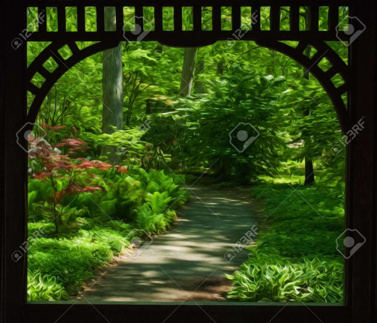 Hermoso Jardín De Sombra Cuidados Enmarca Los Elementos De Madera De ...