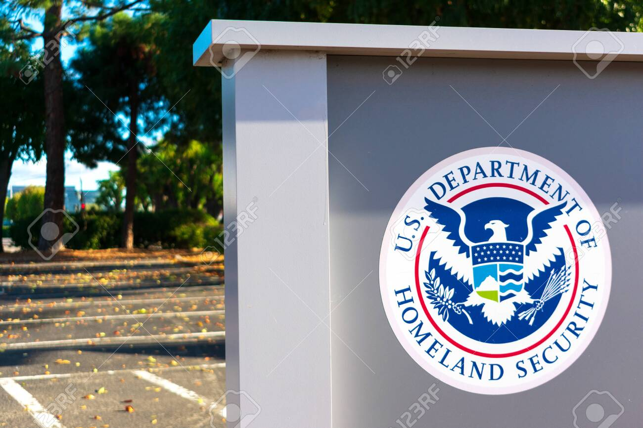 United States Department of Homeland Security DHS seal located near USCIS field office - San Jose, California, USA - 2019 - 140654887