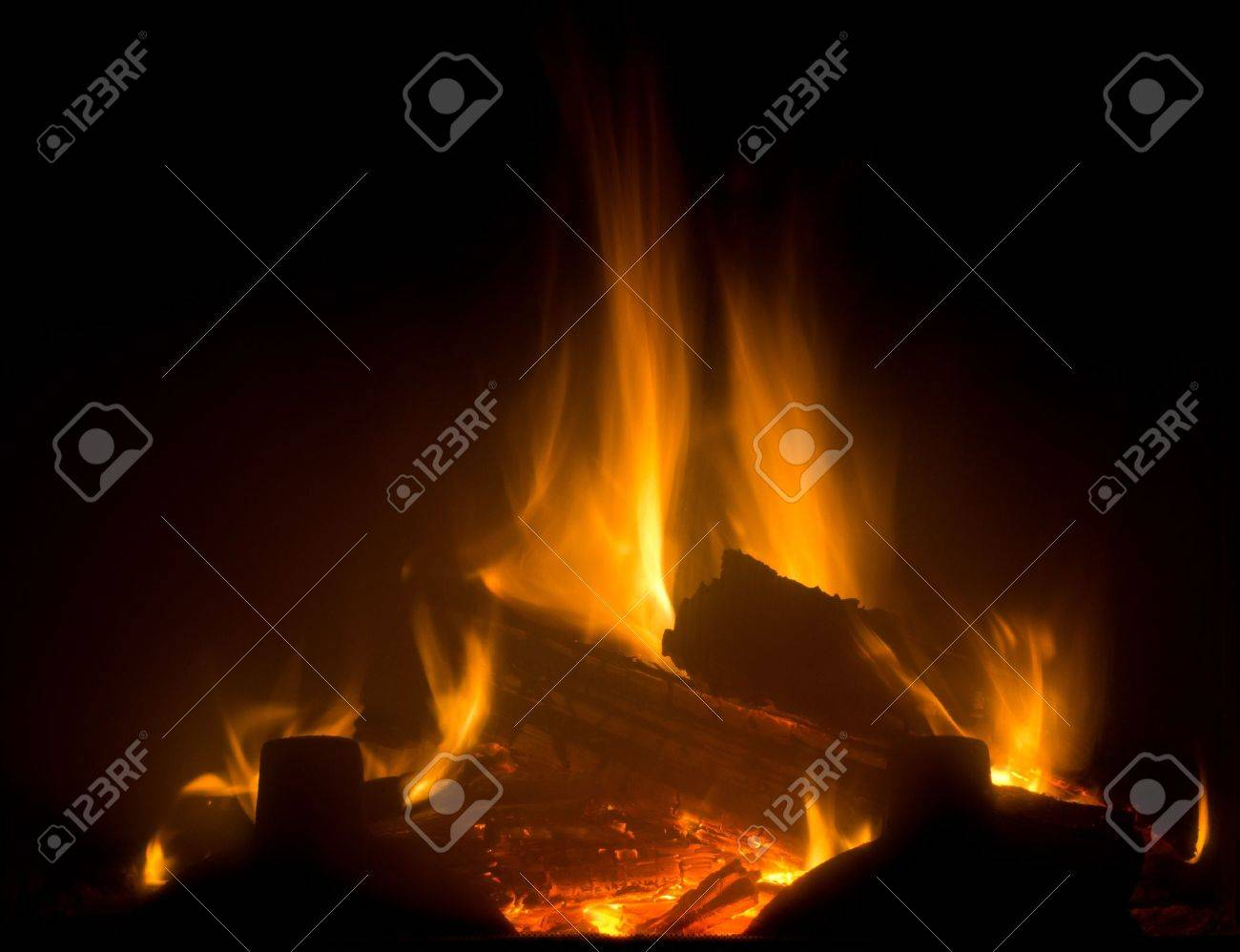 Flame of fireplace with black background Stock Photo - 11888919