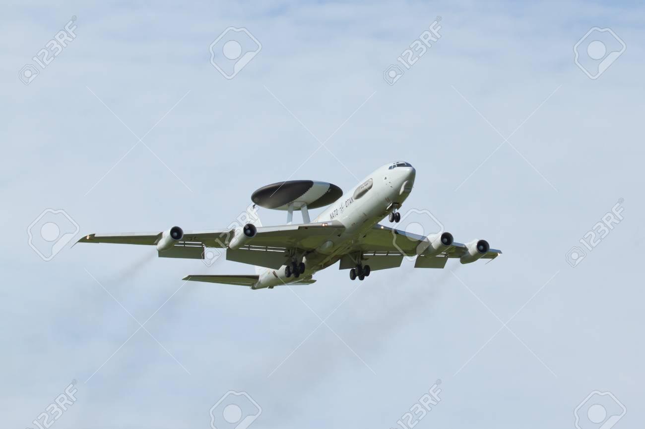 LEEUWARDEN,FRIESLAND,HOLLAND-SEPTEMBER 17 Boeing E-3 Sentry AWACS Plane  makes