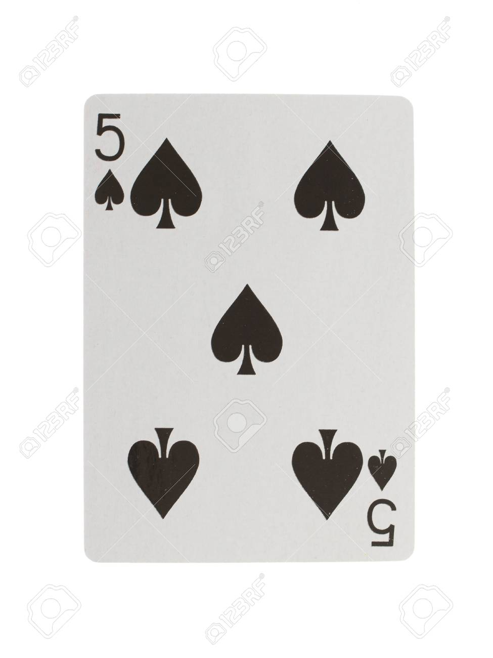 Playing card (five) isolated on a white background Stock Photo - 13552649