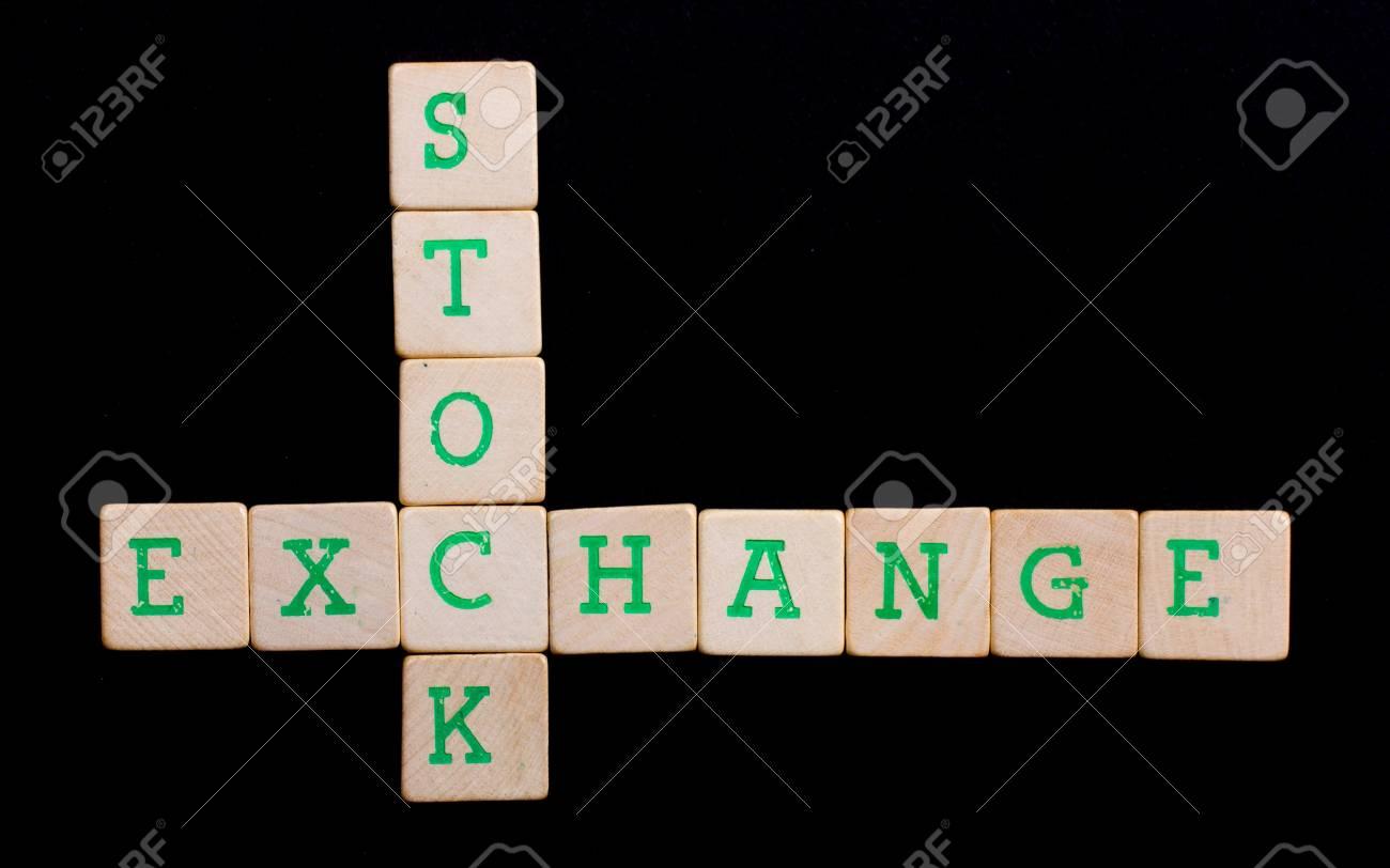 Letters on wooden blocks (stock, exchange) Stock Photo - 13661003