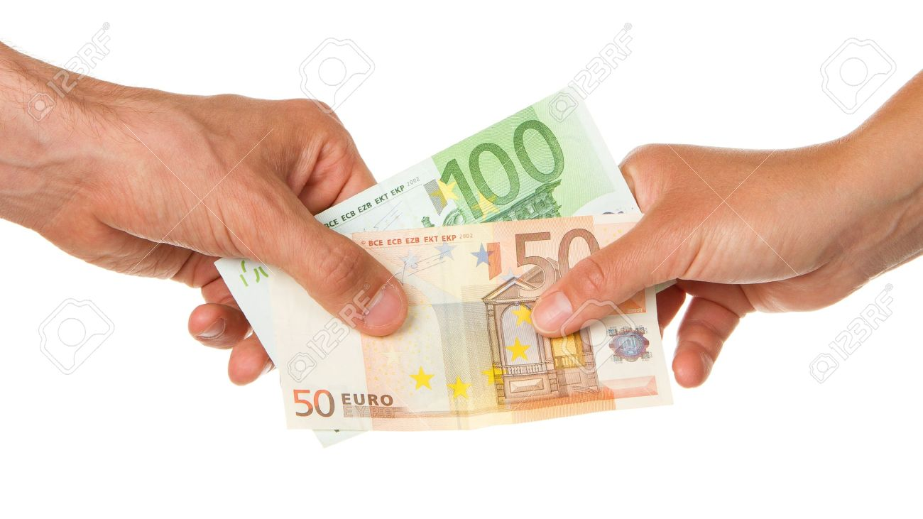 Man giving 150 euro to a woman, isolated on white Stock Photo - 13906131