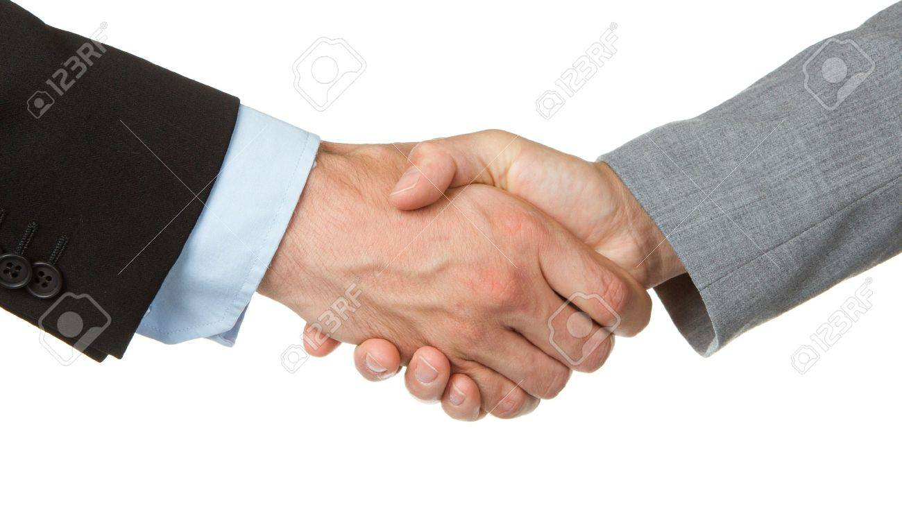 Close-up of businessman and businesswoman shaking hands Stock Photo - 13905590
