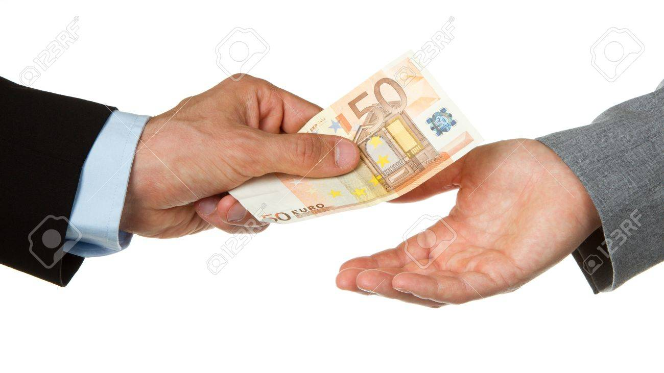 Man giving 50 euro to a woman (business), isolated on white Stock Photo - 13906097