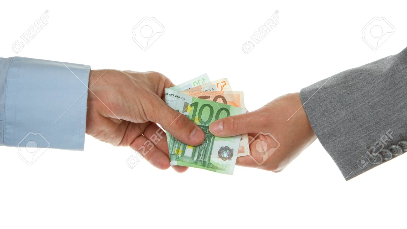 Man giving 150 euro to a woman (business), isolated on white Stock Photo - 13906525