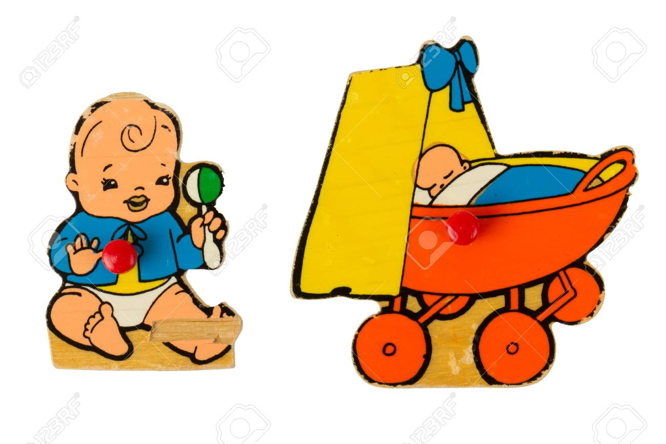 Piece of an antique wooden puzzle for children leaning illustrations (1970) Stock Illustration - 14430097