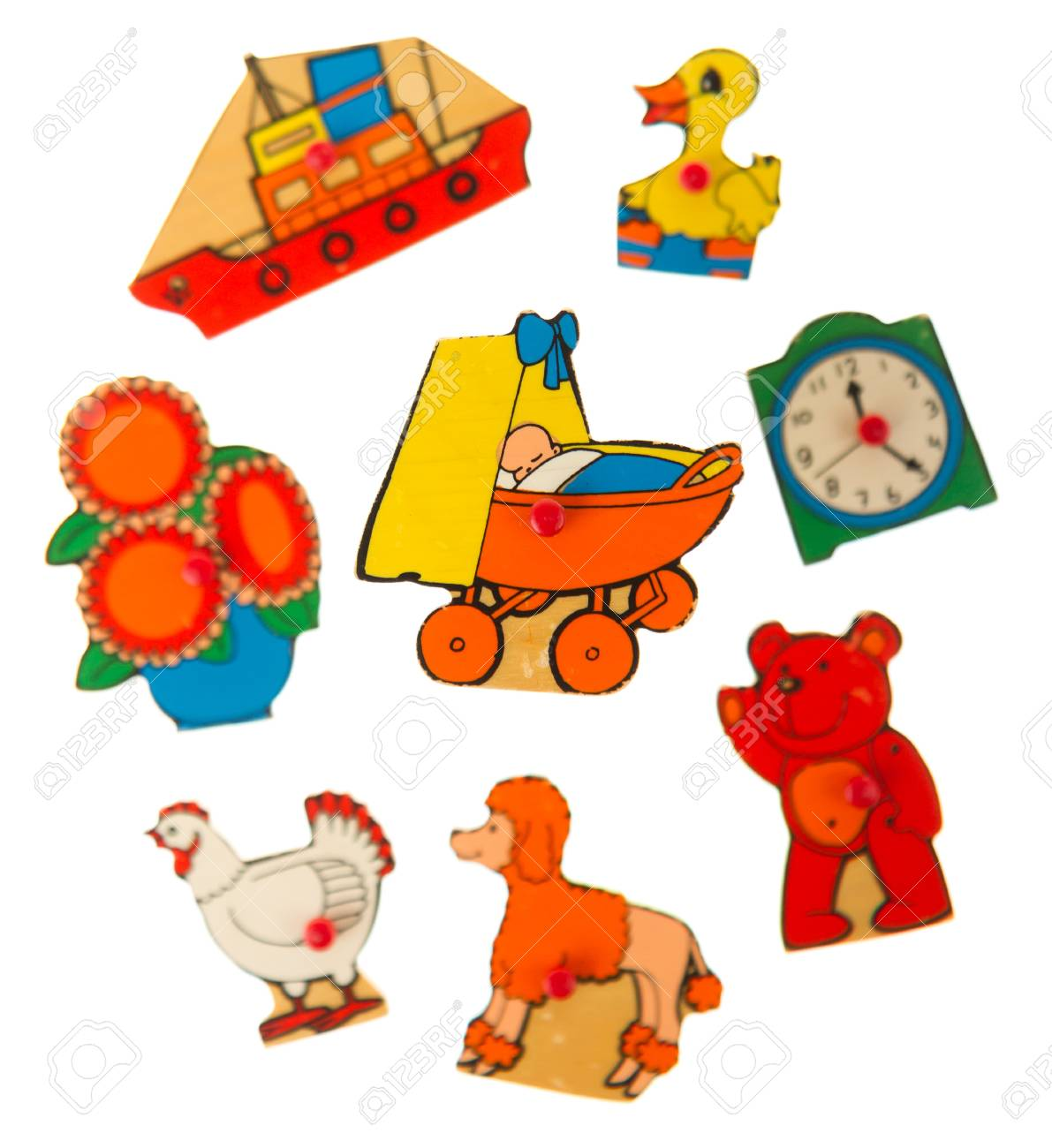 Piece of an antique wooden puzzle for children leaning illustrations (1970, carriage) Stock Illustration - 14429835