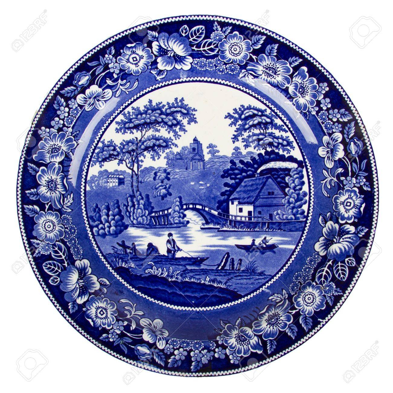 Very old dutch plate isolated on a white background Stock Photo - 16008002