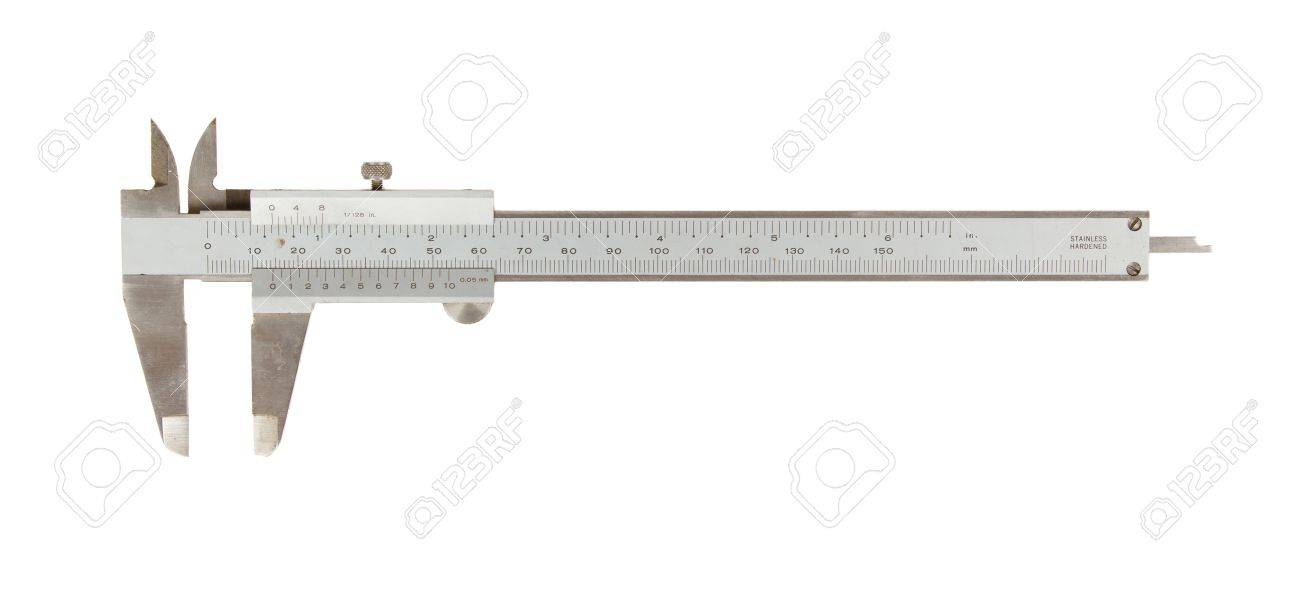 Old used caliper  an instrument for measuring  isolated on white Stock Photo - 16008093