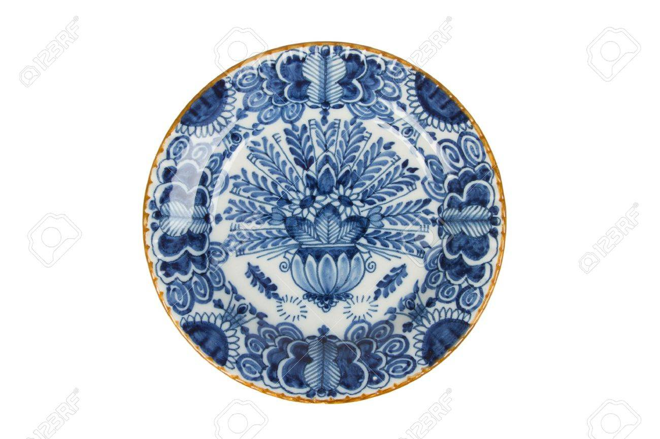 Very old dutch plate isolated on a white background Stock Photo - 16160531