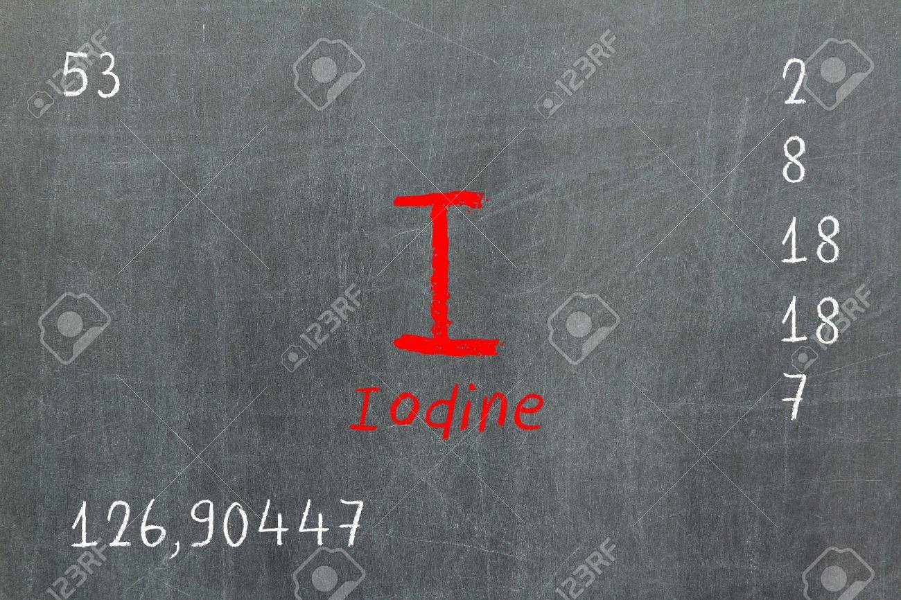 Isolated blackboard with periodic table, Iodine, Chemistry Stock Photo - 16580918