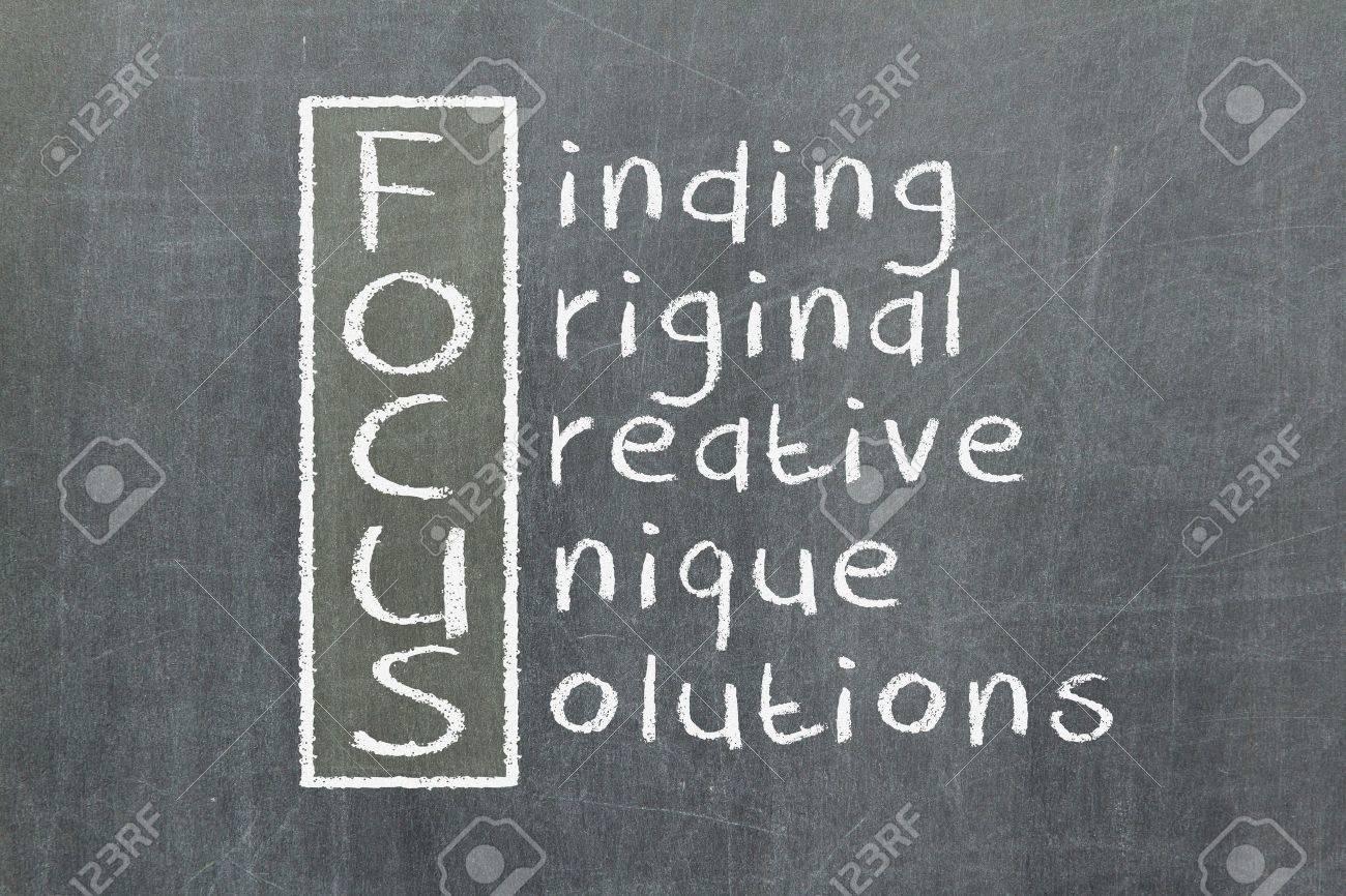 Focus acronym for Finding, Original, Creative, Unique, Solutions Stock Photo - 16631401