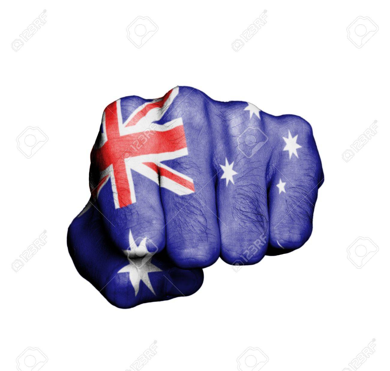 Front view of punching fist, banner of Australia Stock Photo - 17632691