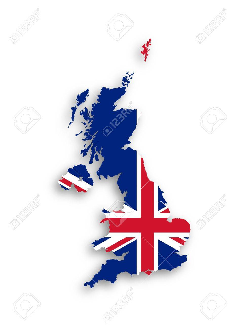 Map of the United Kingdom of Great Britain and Northern Ireland with national flag, isolated Stock Photo - 17733787