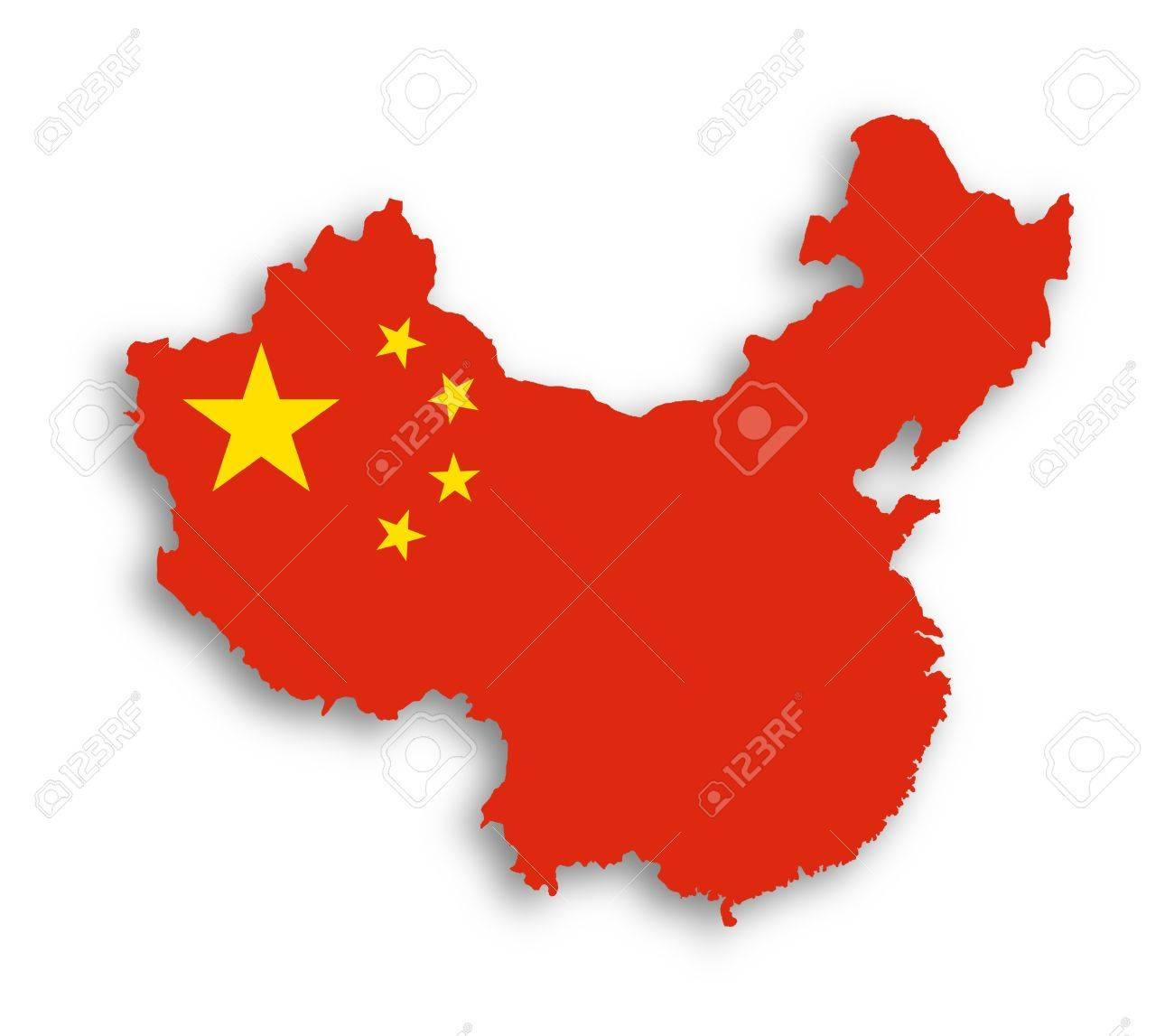Outline map of China covered in Chinese flag