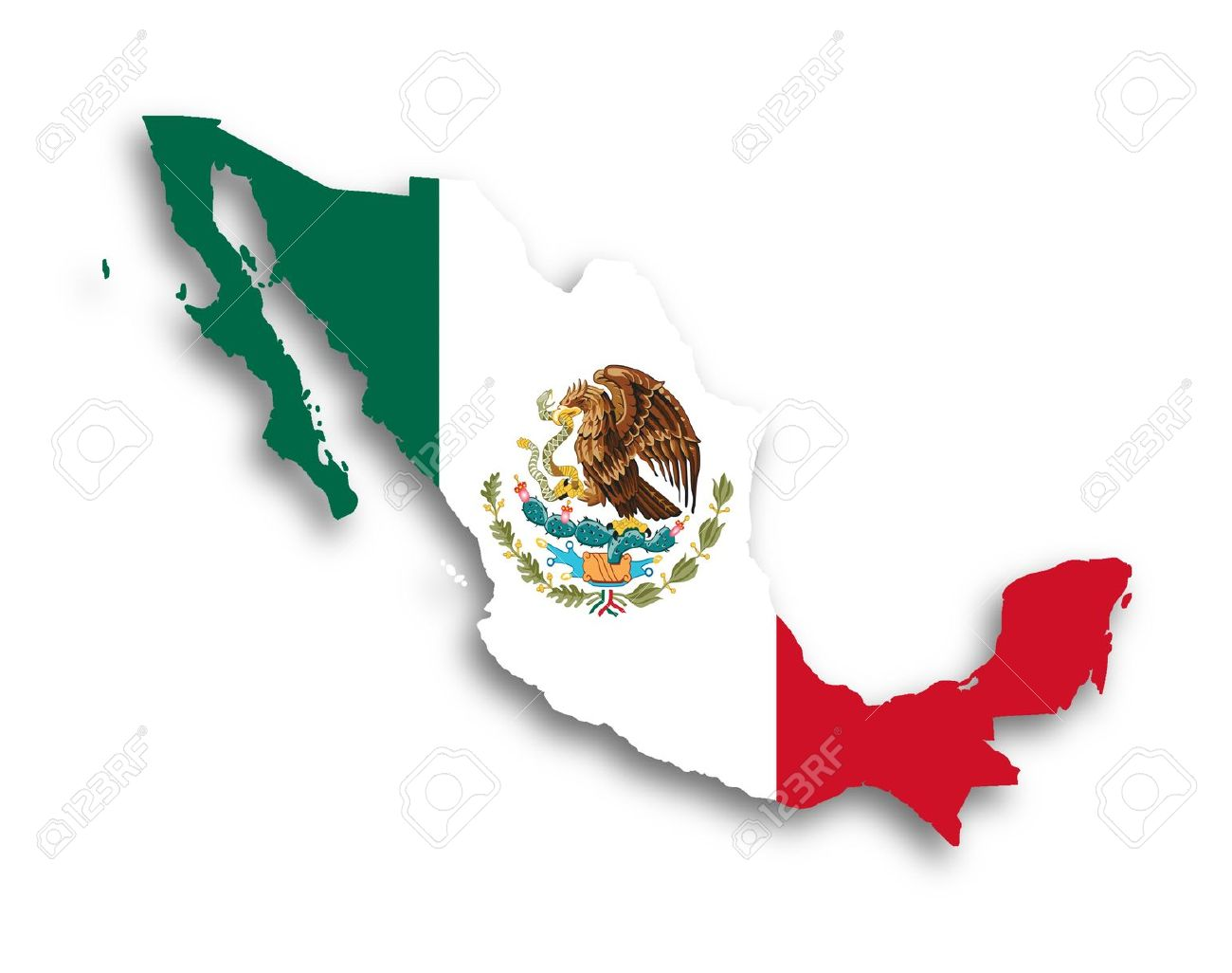 Map of Mexico filled with flag, isolated Stock Photo - 17734051