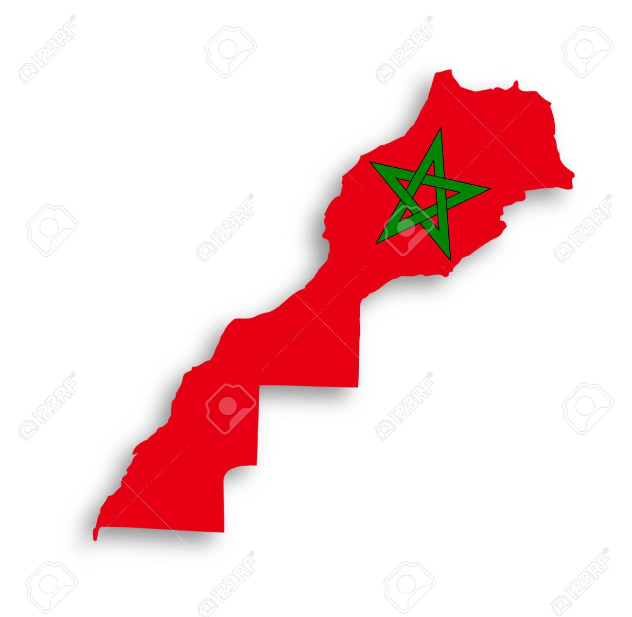 Morocco map with the flag inside, isolated Stock Photo - 17734178