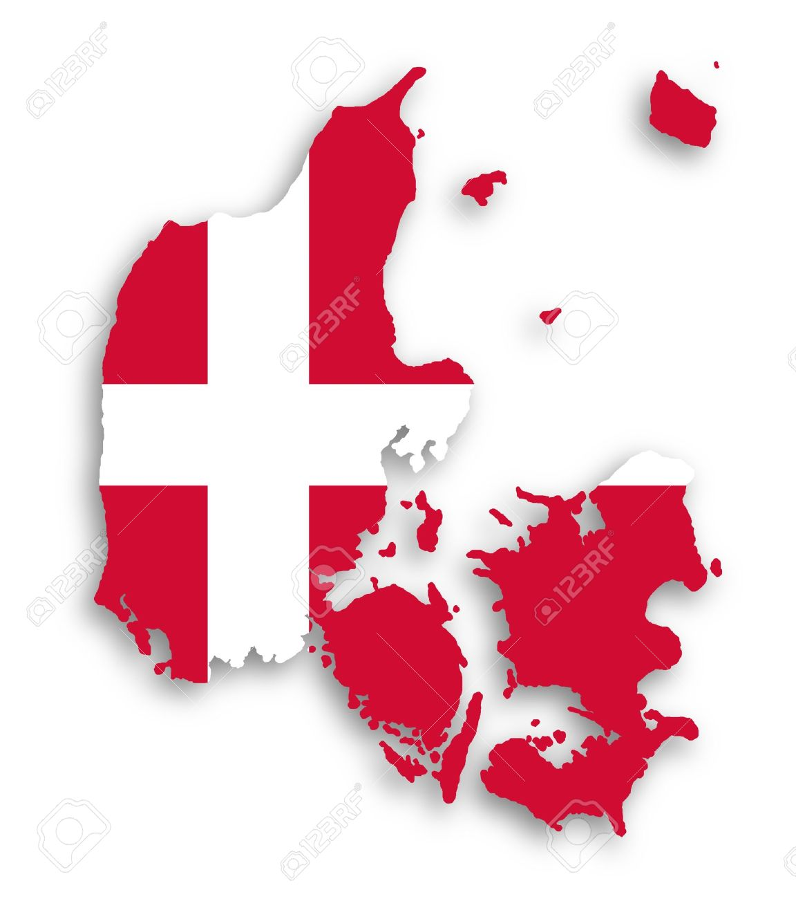 map of denmark filled with flag of the state isolated stock photo