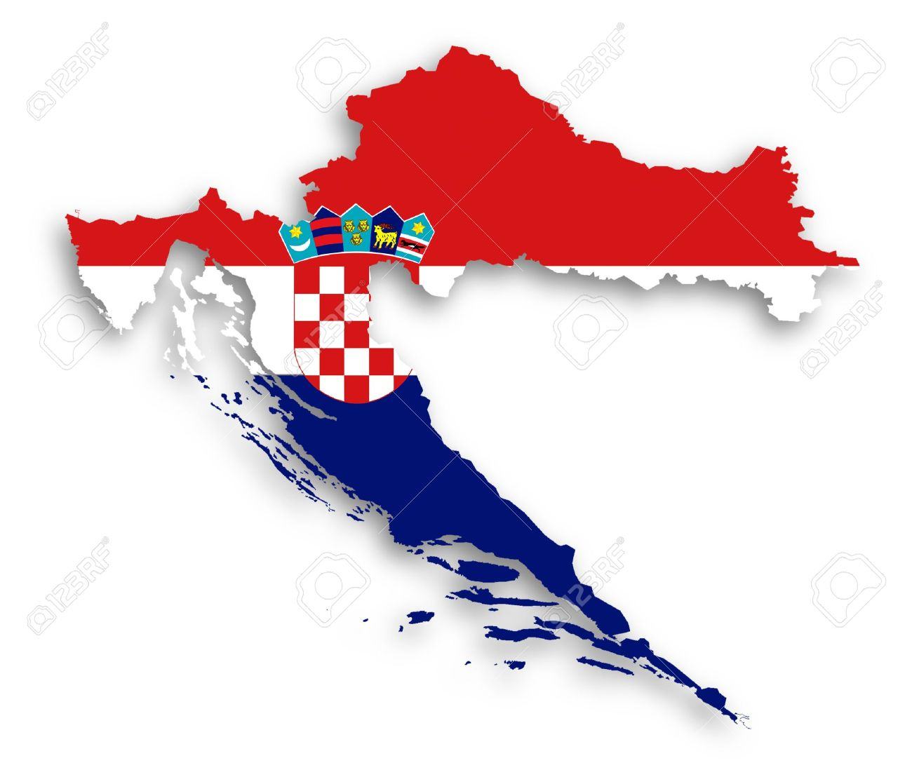 Map of Croatia filled with flag, isolated Stock Photo - 17783601