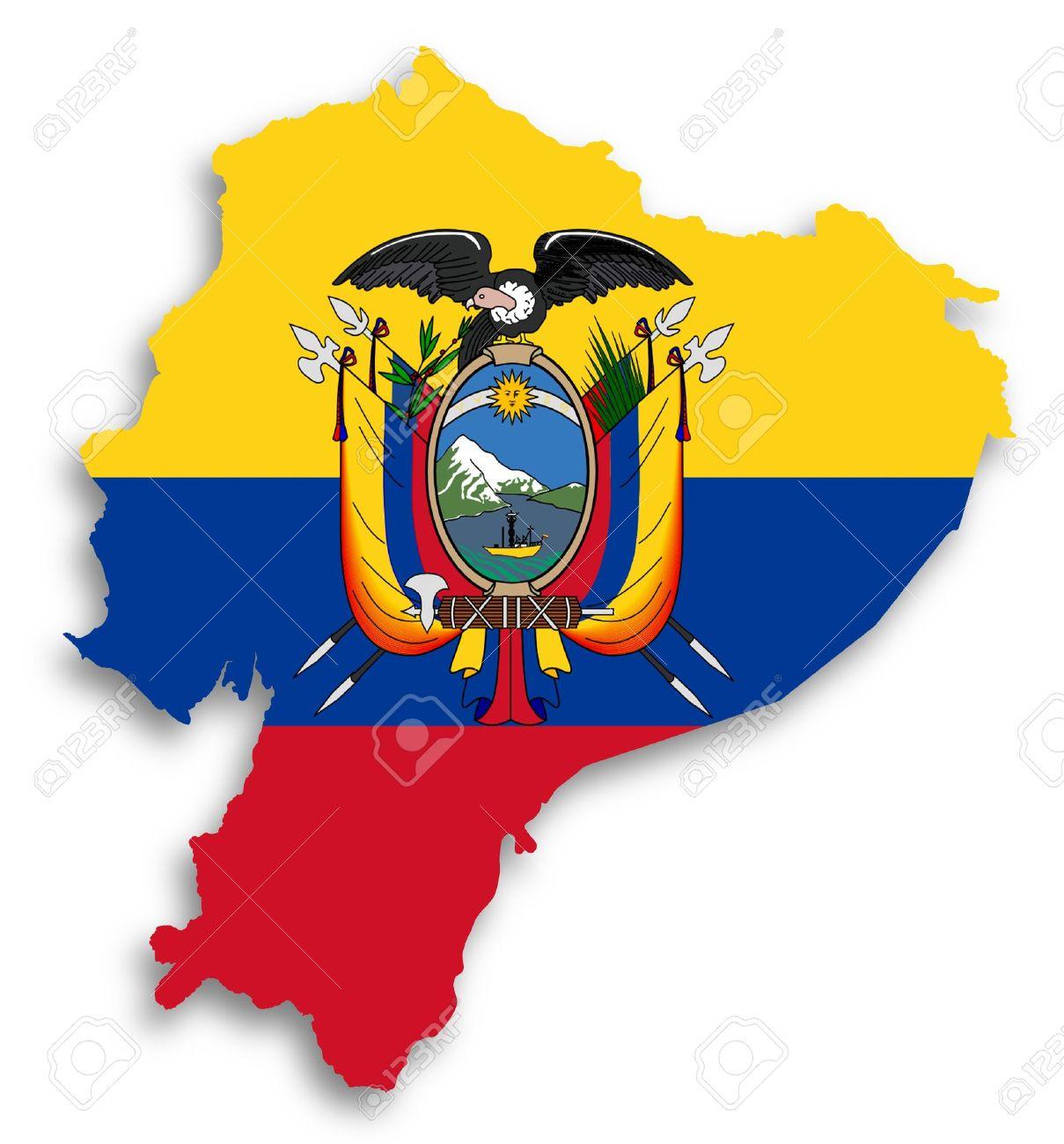 Carte de l'Equateur rempli de drapeau, isolé Banque d'images - 17783697