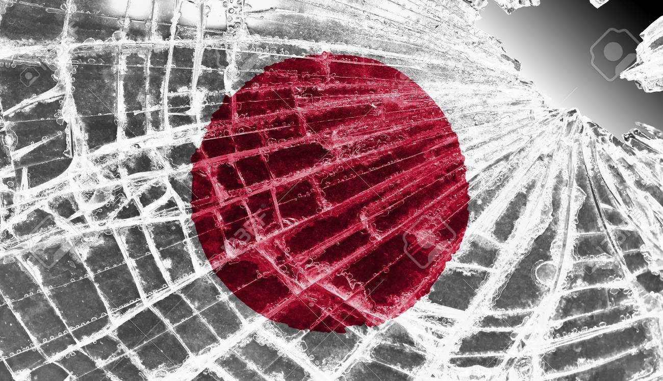 Broken ice or glass with a flag pattern, isolated, Japan Stock Photo - 18068073