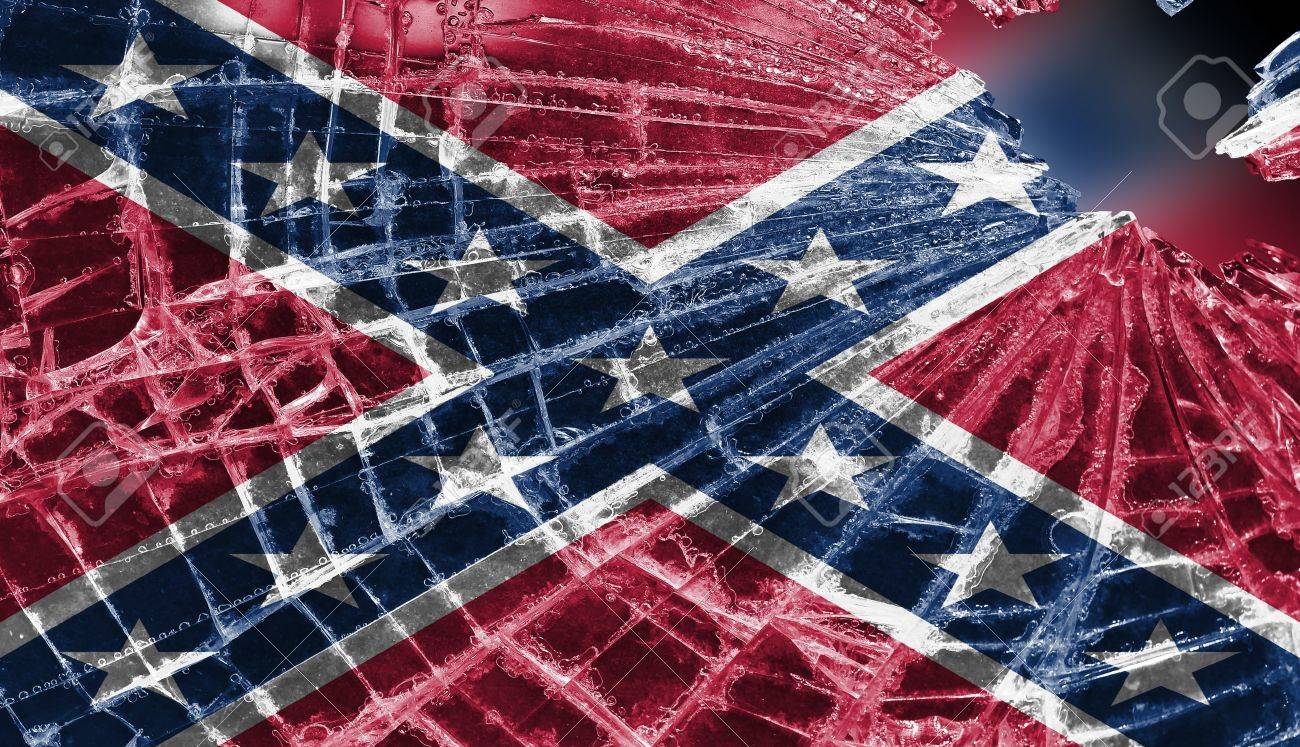 Broken ice or glass with a flag pattern, isolated, Confederate flag Stock Photo - 18068079