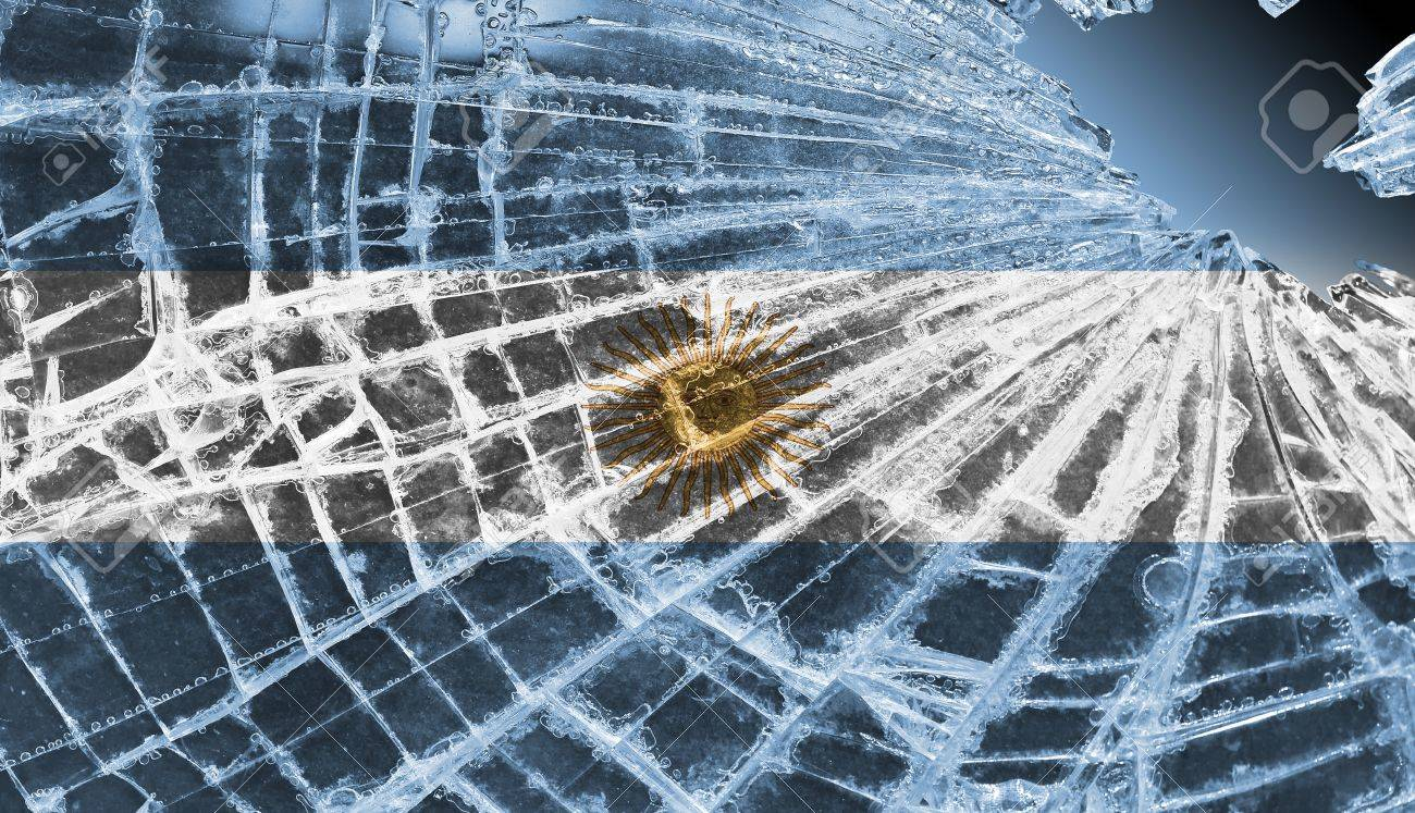 Broken ice or glass with a flag pattern, isolated, Argentina Stock Photo - 18248326