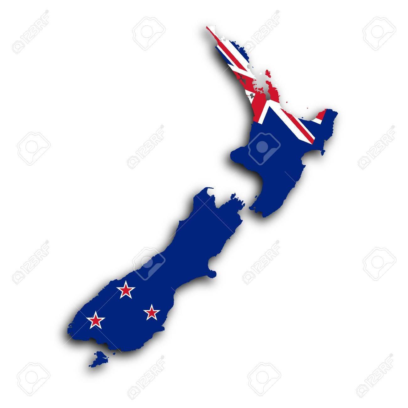 Carte de la Nouvelle-Zélande rempli avec le drapeau national Banque d'images - 18459707