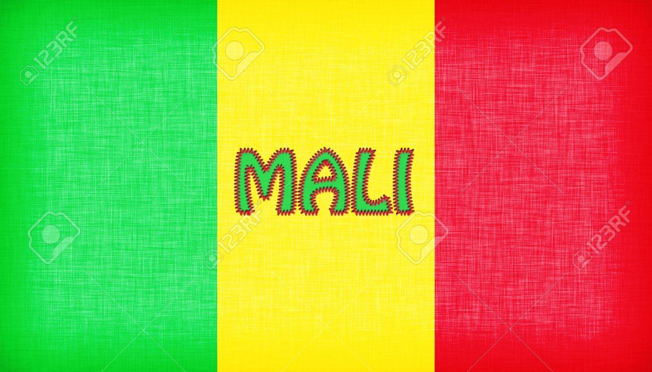 flag of mali stitched with letters isolated stock photo 18517529