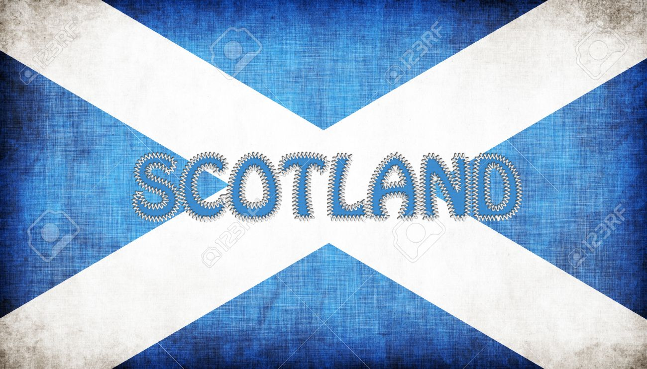 flag of scotland stitched with letters isolated stock photo 18517546